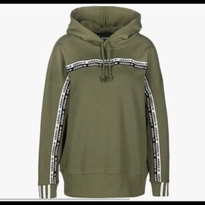 Adidas olive hoodie with ribbon detail